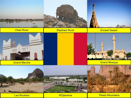 Chad Collage, Chad Flag, Chari River, collage, Elephant Rock, Ennedi Desert, Grand Marche, Grand Mosque, Les Rochers, N'Djamena, Tibetsi Mountains