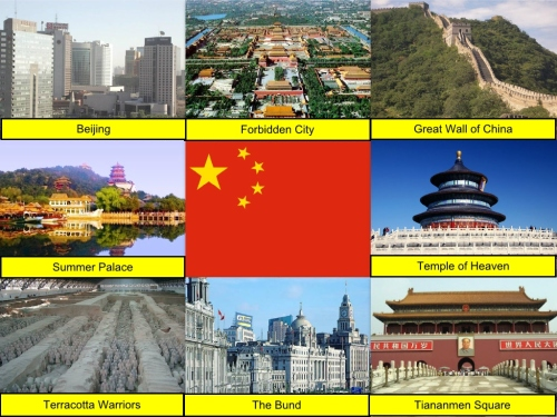 Beijing, Chinese Collage, Chinese Flag, collage, Forbidden City, Great Wall of China, Summer Palace, Temple of Heaven, Terracotta Warriors, The Bund, Tiananmen Square
