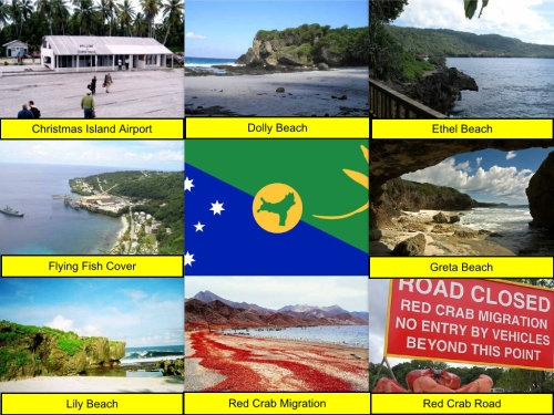 Christmas Island Collage, collage, Christmas Island Flag, Christmas Island National Park, Christmas Island Airport, Dolly Beach, Ethel Beach, Flying Fish Cove, Greta Beach, Lily Beach, Red Crab, Red Crab Migration