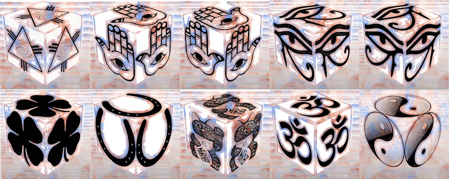 cube, 3d cube, lucky dice, luck symbols, Color Noise Eye of Fatima, Color Noise Eye of Providence, Color Noise Four Leaf Clover, Color Noise Horseshoe, Color Noise Maneki Neko