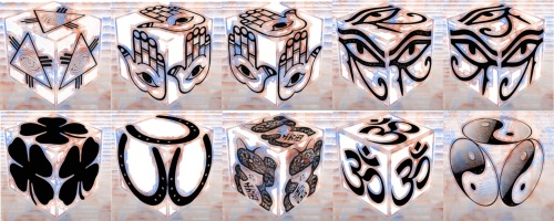 cube, 3d cube, lucky dice, luck symbols, Color Noise Eye of Fatima, Color Noise Eye of Providence, Color Noise Four Leaf Clover, Color Noise Horseshoe, Color Noise Maneki Neko