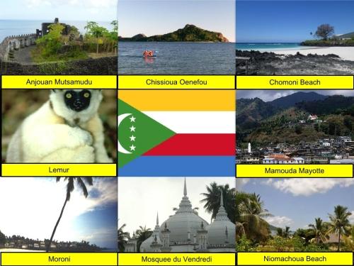 Anjouan Mutsamudu, Chissioua Ouenefou, Chomoni Beach, Comoros Collage, Comoros Flag, collage, Lemur, Mamouda Mayotte, Moroni, Mosquee du Vendredi, Nioumachoua Beach