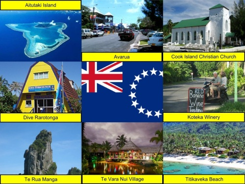Aitutaki Island, Avarua, Cook Islands, Cook Islands Flag, Cook Island Christian Church, collage, Dive Rarotonga, Koteka Winery, Te Rua Manga, Te Vara Nui Village, Titikaveka Beach