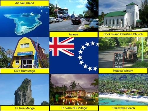 Aitutaki Island, Avarua, Cook Islands, Cook Islands Flag, Cook Island Christian Church, collage, Dive Rarotonga, Koteka Winery, Te Rua Manga, Te Vara Nui Village, Titikaveka Beach