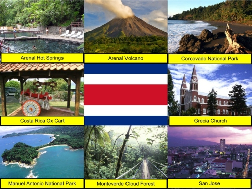 Arenal Hot Springs, Arenal Volcano, Corcovado National Park, Costa Rica Collage, collage, Costa Rica Ox Cart, Costa Rican Flag, Grecia Church, Manuel Antonio National Park, Monteverde Cloud Forest, San Jose