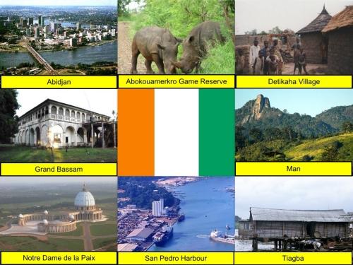 Abidjan, Abokouamekro Game Reserve, Cote D'Ivoire Collage, Cote D'ivoire Flag, collage, Detikaha Village, Man, Notre Dame de la Paix, San Pedro Harbour, Tiagba