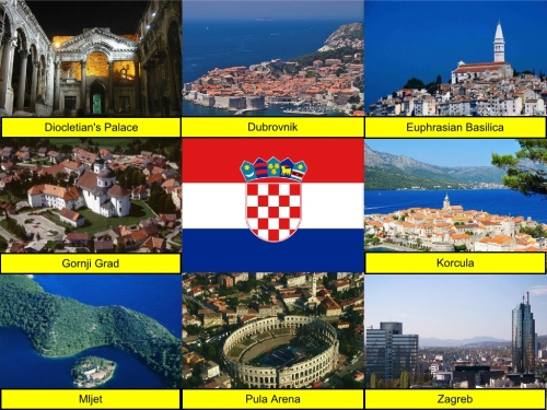 collage, Croatia Collage, Croatian Flag, Diocletian's Palace, Dubrovnik, Euphrasian Basilica, Gornji Grad,  Korcula, Mljet, Pula Arena, Zagreb