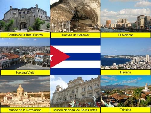 Castillo de la Real Fuerza, collage, Cuban Collage, Cuban Flag, Cuevas de Bellamar, El Malecon, Havana Vieja, Havana, Museo de la Revolution, Museo Nacional de Bellas Artes Cuba, Trinidad