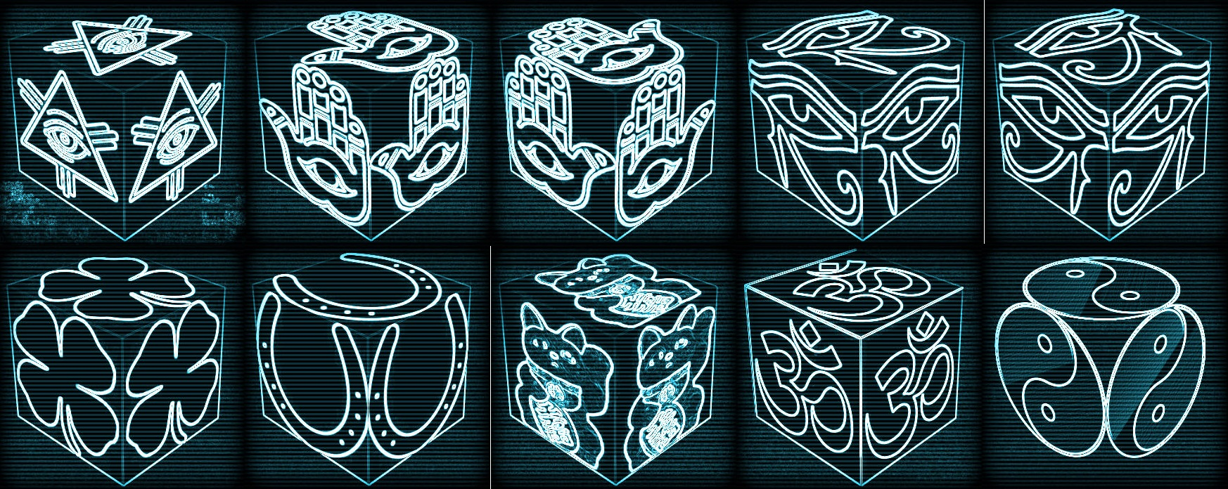 cube, 3d cube, lucky dice, luck symbols, Cyber Vision Eye of Fatima, Cyber Vision Eye of Providence, Cyber Vision Four Leaf Clover, Cyber Vision Horseshoe, Cyber Vision Maneki Neko