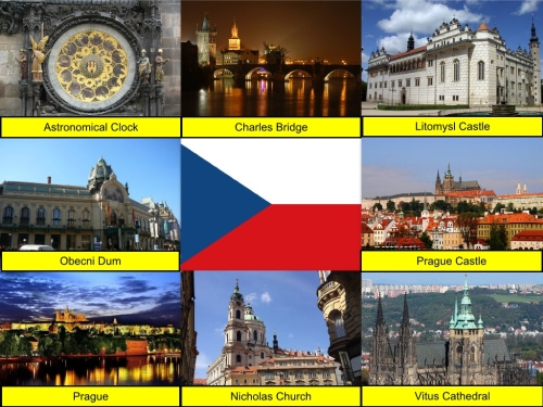 Astronomical Clock, Charles Bridge, collage, Czech Republic Collage, Czech Republic Flag, Litomysl Castle, Obecni Dum, Prague Castle, Prague, St. Nicholas Church, St. Vitus Cathedral