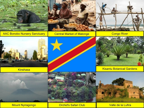 AAC Bonobo Nursery Sanctuary, Central Market of Matongé, collage, Congo River, Democratic Republic of Congo Collage, Democratic Republic of Congo Flag, Kinshasa, Kisantu Botanical Gardens, Mount Nyiragongo, Orchid's Safari Club, Valle de la Lufira