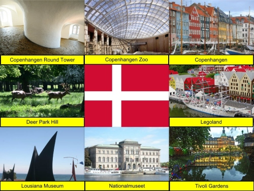 collage, Copenhagen Round Tower, Copenhagen Zoo, Copenhagen, Deer Park Hill, Denmark Collage, Denmark Flag, Legoland, Louisiana Museum, Nationalmuseet, Tivoli Gardens