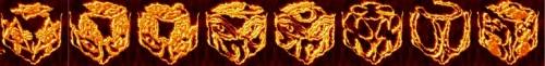 cube, 3d cube, lucky dice, luck symbols, Flames of Fire Eye of Fatima, Flames of Fire Eye of Providence, Flames of Fire Four Leaf Clover, Flames of Fire Horseshoe, Flames of Fire Maneki Neko