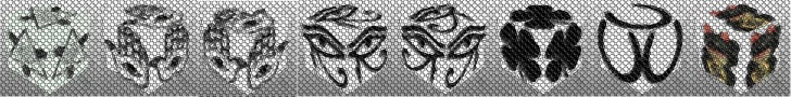 cube, 3d cube, lucky dice, luck symbols, Mosaic Eye of Fatima, Mosaic Eye of Providence, Mosaic Four Leaf Clover, Mosaic Horseshoe, Mosaic Maneki Neko