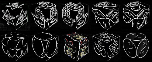 cube, 3d cube, lucky dice, luck symbols, Neon Eye of Fatima, Neon Eye of Providence, Neon Four Leaf Clover, Neon Horseshoe, Neon Maneki Neko