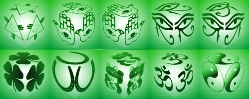 cube, 3d cube, lucky dice, luck symbols, Night Vision Eye of Fatima, Night Vision Eye of Providence, Night Vision Four Leaf Clover, Night Vision Horseshoe, Night Vision Maneki Neko
