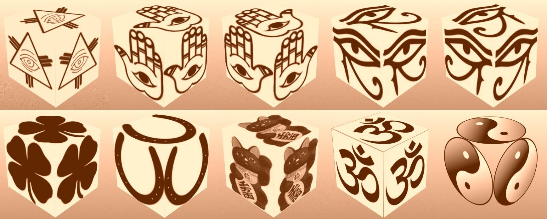 cube, 3d cube, lucky dice, luck symbols, Sepia Eye of Fatima, Sepia Eye of Providence, Sepia Four Leaf Clover, Sepia Horseshoe, Sepia Maneki Neko