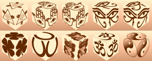 cube, 3d cube, lucky dice, luck symbols, Sepia Eye of Fatima, Sepia Eye of Providence, Sepia Four Leaf Clover, Sepia Horseshoe, Sepia Maneki Neko