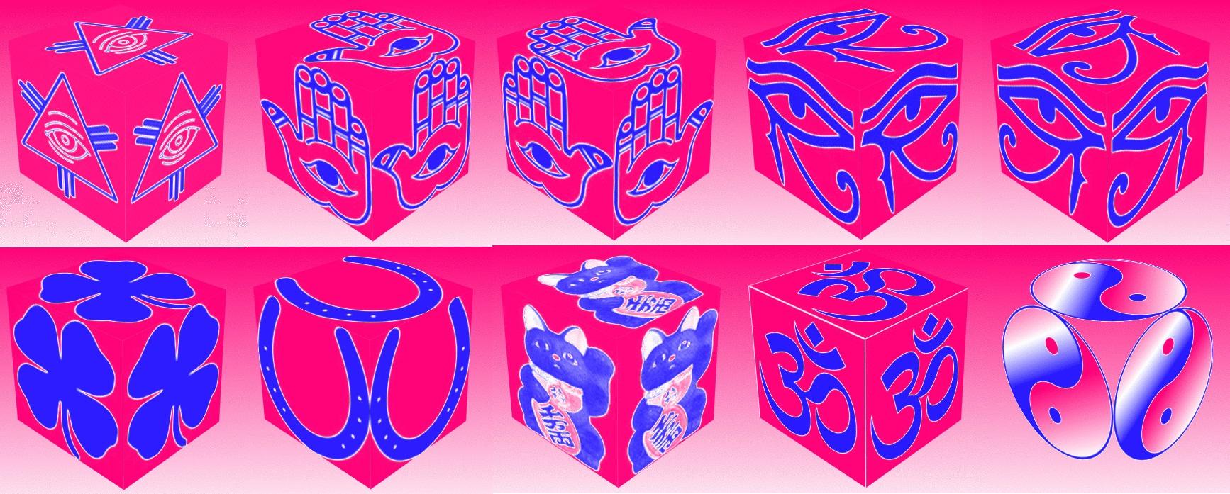 cube, 3d cube, lucky dice, luck symbols, Tritone Eye of Fatima, Tritone Eye of Providence, Tritone Four Leaf Clover, Tritone Horseshoe, Tritone Maneki Neko