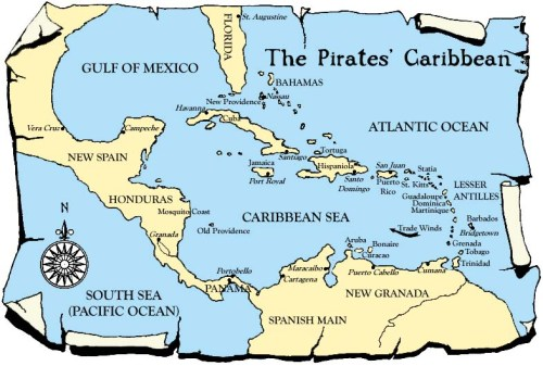 Caribbean Pirate Map Old