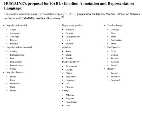 3HUMAINE's proposal for EARL (Emotion Annotation and Representation