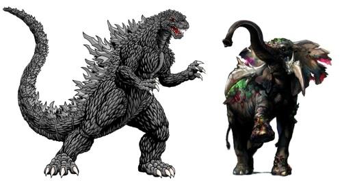 Godzilla versus Zombie Elephants Banner Resized