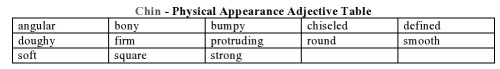 Chin - Physical Appearance Adjective Table