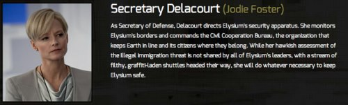 2Jodie Foster as Defense Secretary Delacourt
