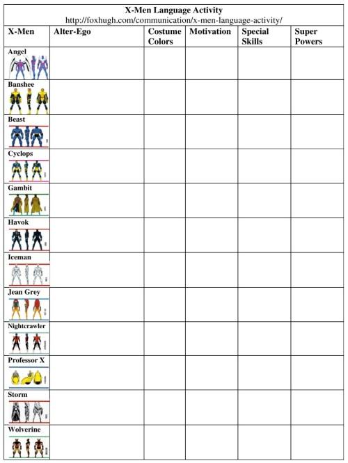 X-Men Language Activity Table Resized