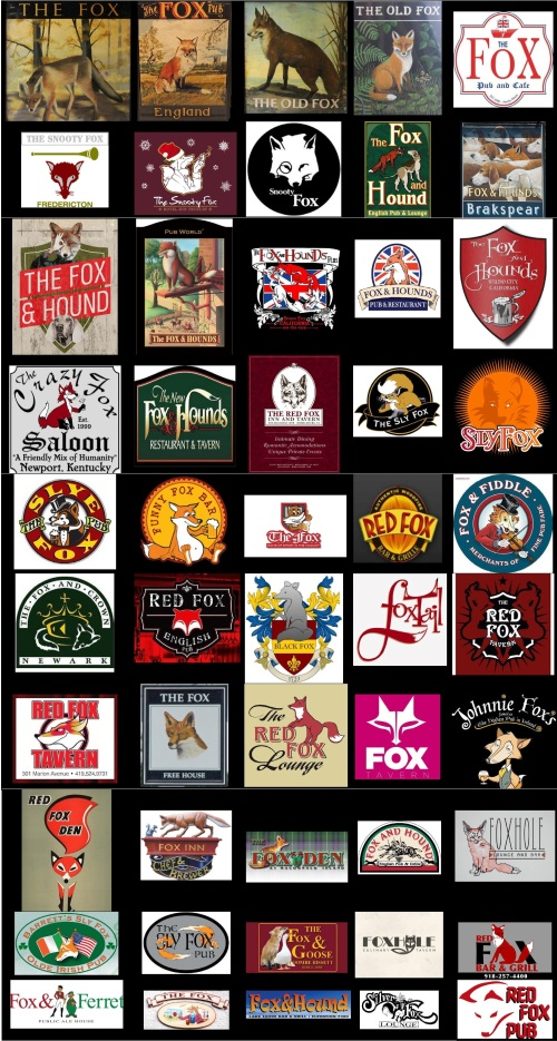 Fox Pub Signs 1 Portrait Large 39x73 inches