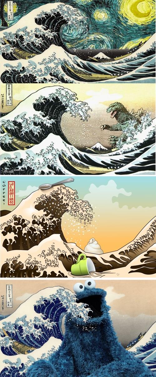 Hokusai Parody Super Poster