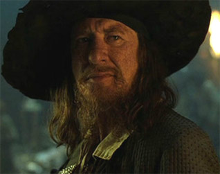 2) Describe Geoffrey Rush as Captain Hector Barbossa