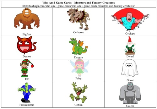 Who Am I Game Cards Monsters and Fantasy Creatures Table