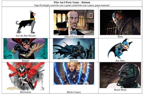 Who Am I Party Game – Batman Table